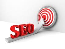 Concetto di Seo con la freccia crescente all'obiettivo di successo Immagine Stock