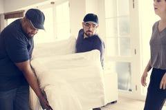 Concetto di servizio di assistenza al cliente di consegna della mobilia fotografia stock libera da diritti