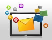 Concetto di servizio di assistenza al cliente con le icone sullo smartphone illustrazione vettoriale