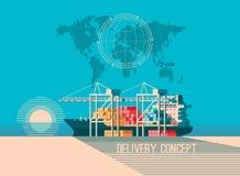 Concetto di servizio di distribuzione Caricamento della nave da carico del contenitore, caricatore del camion, magazzino Illustra Immagine Stock