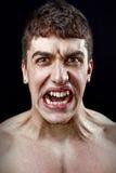 Concetto di sforzo - uomo pazzo furioso arrabbiato Fotografia Stock Libera da Diritti