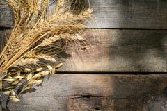 Concetto di Shavout - grani, latte e formaggio su fondo di legno fotografia stock