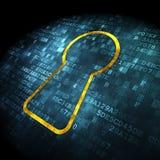 Concetto di sicurezza: buco della serratura su fondo digitale Immagini Stock