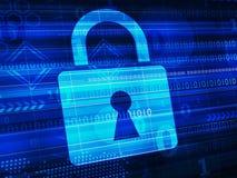 Concetto di sicurezza - chiuda il simbolo a chiave sullo schermo digitale Immagini Stock