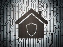 Concetto di sicurezza: circuito con la casa Fotografia Stock