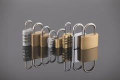 Concetto di sicurezza con l'insieme dei lucchetti del metallo Immagini Stock Libere da Diritti