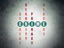 Concetto di sicurezza: crimine di parola nella soluzione delle parole incrociate Fotografia Stock Libera da Diritti