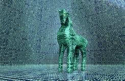 Concetto di sicurezza del computer, cavallo di Troia nell'ambiente elettronico, Immagini Stock