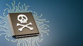 Concetto di sicurezza dell'insetto dell'unità di elaborazione del computer Fotografia Stock
