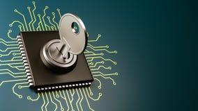 Concetto di sicurezza dell'unità di elaborazione del computer Immagini Stock