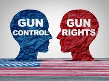 Concetto di sicurezza di dibattito della pistola fotografia stock