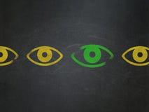 Concetto di sicurezza: icona dell'occhio sul consiglio scolastico Fotografia Stock Libera da Diritti