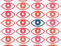 Concetto di sicurezza: icona dell'occhio sul fondo della parete Fotografia Stock