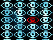 Concetto di sicurezza: icona dell'occhio sul fondo di Digital Immagini Stock
