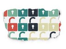 Concetto di sicurezza: Icone aperte del lucchetto su lacerato Immagini Stock Libere da Diritti