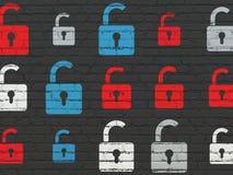 Concetto di sicurezza: Icone aperte del lucchetto sulla parete Fotografia Stock