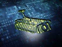 Concetto di sicurezza: Macchina fotografica del Cctv sul fondo di schermo digitale Immagine Stock