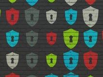 Concetto di sicurezza: Schermo con le icone del buco della serratura sulla parete Immagine Stock Libera da Diritti
