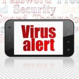 Concetto di sicurezza: Smartphone con l'allarme del virus su esposizione Fotografia Stock