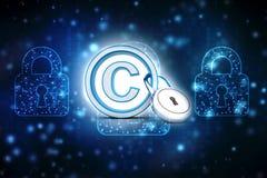 concetto di simbolo del copyright dell'illustrazione 3d illustrazione di stock