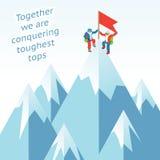 Concetto di sinergia Scalata di montagna di affari dentro Fotografie Stock