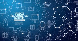 Concetto di sistema di assistenza di riconoscimento della voce con le icone al neon illustrazione vettoriale