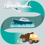 Concetto di sistema di trasporto - aeroplano, nave, camion Fotografie Stock Libere da Diritti