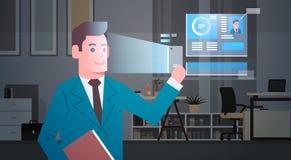 Concetto di sistema di sicurezza moderno di riconoscimento di identificazione del sistema di esame di affari del fronte biometric Immagini Stock
