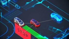Concetto di sistema di trasporto di Autonome, città astuta, Internet delle cose, veicolo al veicolo, veicolo ad infrastruttura Immagini Stock