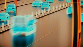 Concetto di sistema di trasporto di Autonome, città astuta, Internet delle cose, veicolo al veicolo, veicolo ad infrastruttura video d archivio