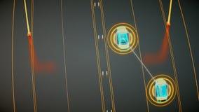 Concetto di sistema di trasporto di Autonome, città astuta, Internet delle cose, veicolo al veicolo, veicolo ad infrastruttura stock footage