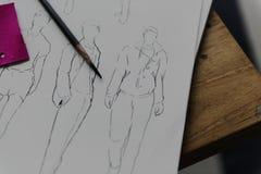 Concetto di Sketch Drawing Costume dello stilista Immagine Stock Libera da Diritti