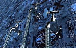 Concetto di software colante, dati con un rubinetto che attacca fuori illustrazione di stock