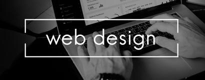 Concetto di software della disposizione di Internet del homepage di web design fotografie stock