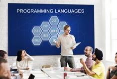 Concetto di software dello sviluppatore di codifica di linguaggio di programmazione immagini stock libere da diritti