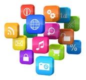 Concetto di software: nube delle icone di programma Fotografia Stock