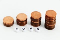 Concetto di soldi, monete vacillate Fotografia Stock Libera da Diritti