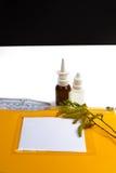 Concetto di sollievo di allergia, allergia stagionale del polline, farmaco e Immagine Stock