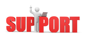 Concetto di sostegno. carattere 3d con il computer portatile Immagine Stock