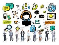 Concetto di sostegno della soluzione di servizio commerciale di aiuto di servizio di assistenza al cliente Immagine Stock