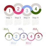 Concetto di statistica del grafico di progresso Modello di Infographic per la presentazione Grafico statistico di cronologia Flus Immagini Stock