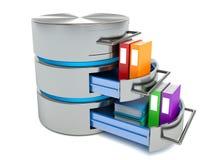 Concetto di stoccaggio della base di dati Icona del disco rigido con le cartelle Immagini Stock