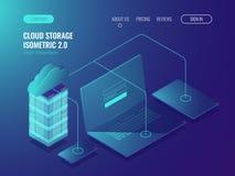 Concetto di stoccaggio della nuvola, trasferimento di dati Stanza del server, vettore isometrico 3d del grande centro dati illustrazione di stock