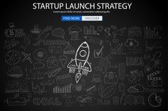 Concetto di strategia del lancio di Strartup con stile di progettazione di scarabocchio