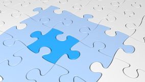 Concetto di strategia di un pezzo mancante di puzzle 3D che fornisce una riuscita soluzione illustrazione vettoriale