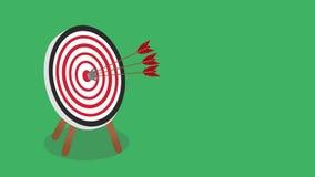 Concetto di strategia e di successo - obiettivo del centro della freccia con spazio per il vostro testo archivi video