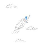 Concetto di successo del capo di Fly Wear Hero dell'uomo d'affari illustrazione vettoriale