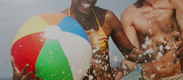 Concetto di Sunny Vacation Leisure Holiday Friends del mare fotografie stock