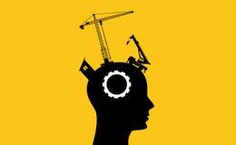 Concetto di sviluppo di intelligenza del cervello con la testa umana di sillhouette Immagini Stock Libere da Diritti