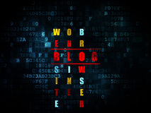Concetto di sviluppo Web: blog di parola nella soluzione Fotografia Stock